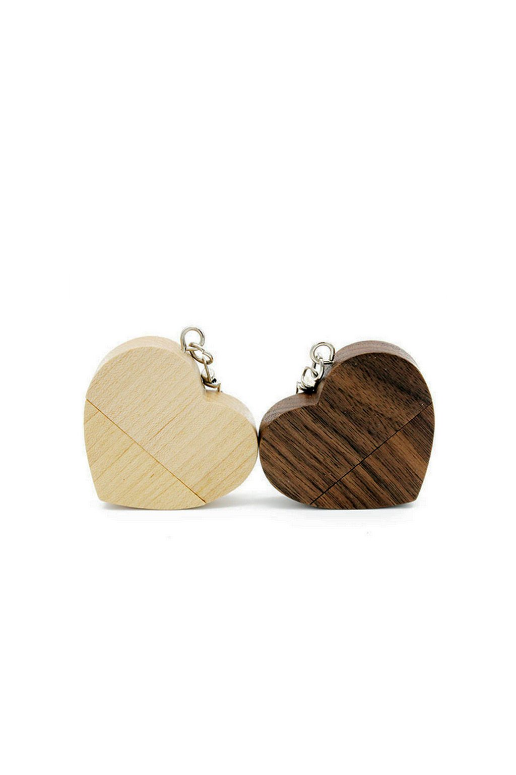 Heart shaped wooden material of usb stick